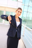 Businesswoman shows thumb down Stock Images