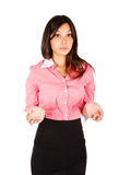 Businesswoman shrugging. Royalty Free Stock Photos