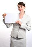 Businesswoman with sign Royalty Free Stock Photo
