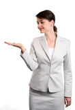 Businesswoman with sign Royalty Free Stock Images