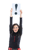 businesswoman with a sign exclamation mark. Stock Images