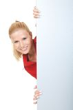 Businesswoman with signboard Royalty Free Stock Photos