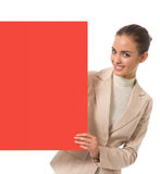 Businesswoman with signboard Stock Photography