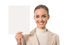 Businesswoman with signboard Royalty Free Stock Image