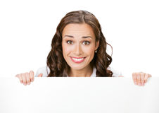 Businesswoman with signboard, on whit Stock Photo