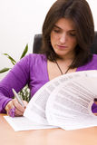 Businesswoman Signing Documents Stock Photography