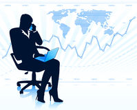 Businesswoman silhouette with laptop Stock Photography