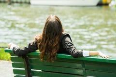 Businesswoman Sitting On Bench Stock Image