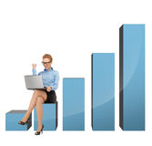 Businesswoman sitting on big 3d chart Royalty Free Stock Photo