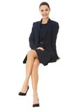 Businesswoman sitting on blank billboard. Sign people. Businesswoman sitting on blank billboard placard sign stock images