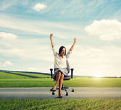 Businesswoman sitting on the chair Royalty Free Stock Images