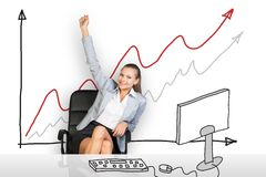 Businesswoman sitting in chair Stock Photo