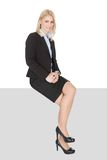 Businesswoman sitting on copyspace Royalty Free Stock Photo