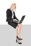 Businesswoman sitting on copyspace Royalty Free Stock Images