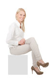 Businesswoman sitting on copyspace Stock Image