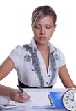 Businesswoman sitting with documents and fills Stock Images