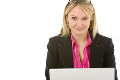 Businesswoman Sitting In Front Of Laptop Stock Photography