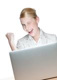 Businesswoman sitting with laptop Stock Photography