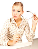 businesswoman sitting  with a laptop Royalty Free Stock Image