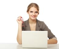 Businesswoman sitting with a laptop Stock Photo