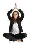 Businesswoman sitting in lotus flower position Royalty Free Stock Photo