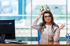 The businesswoman sitting at the office desk. Businesswoman sitting at the office desk Stock Photography