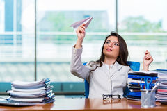 The businesswoman sitting at the office desk Royalty Free Stock Photography