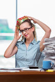 The businesswoman sitting at the office desk Royalty Free Stock Photo