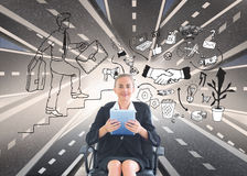 Businesswoman sitting on swivel chair with tablet. Composite image of blonde businesswoman sitting on swivel chair with tablet royalty free stock photos