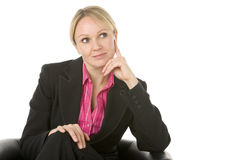 Businesswoman Sitting And Thinking Royalty Free Stock Images