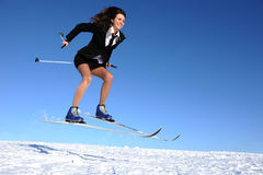 Businesswoman on ski Stock Photos