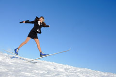 Businesswoman on ski Royalty Free Stock Photos