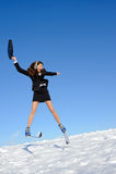 Businesswoman on ski Stock Photo