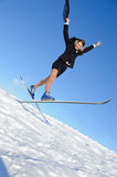 Businesswoman on ski Royalty Free Stock Images