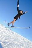 Businesswoman on ski Royalty Free Stock Images