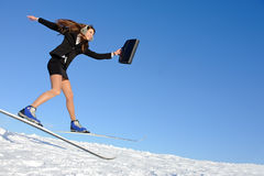 Businesswoman on ski Stock Photography