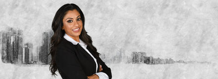 Businesswoman With Skyline Stock Images