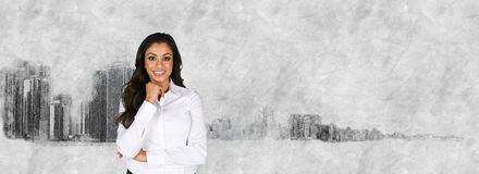 Businesswoman With Skyline Royalty Free Stock Photos