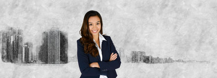 Businesswoman With Skyline Royalty Free Stock Photography