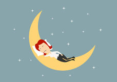 Businesswoman sleeping on golden moon Stock Images