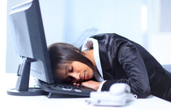 Businesswoman sleeping Stock Images