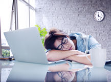 Businesswoman Sleeping Office Worker Break Digital Concept Royalty Free Stock Image