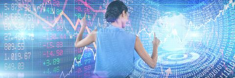 Composite image of businesswoman in sleeveless clothing pointing on interface. Businesswoman in sleeveless clothing pointing on interface against digitally Stock Images