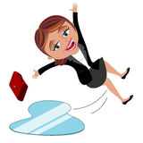 Businesswoman Slipping Ice  Stock Image