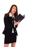 Businesswoman with small notebook Royalty Free Stock Image