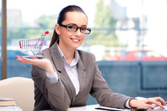 The businesswoman with small shopping cart. Businesswoman with small shopping cart Stock Image