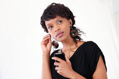 Businesswoman on smart phone Royalty Free Stock Image
