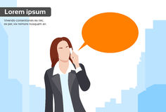 Businesswoman Smart Phone Talk Chat Bubble. Communication Flat Vector Illustration Stock Images
