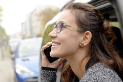 Businesswoman with smartphone Royalty Free Stock Image