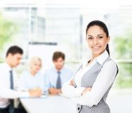 Businesswoman smile with colleague Royalty Free Stock Photo